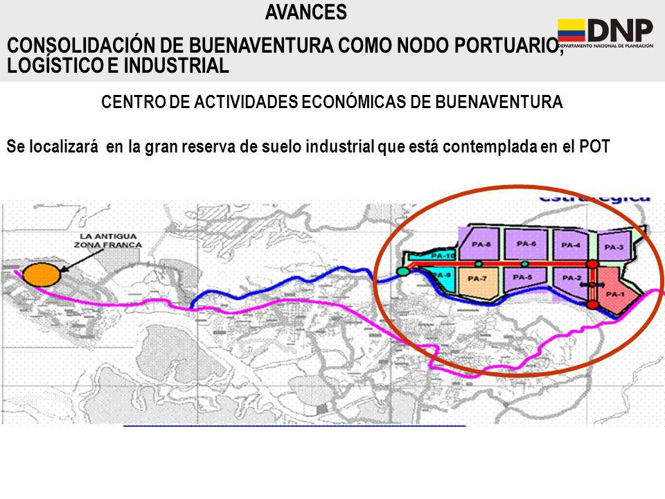 CENTRO DE ACTIVIDADES ECONÓMICAS DE BUENAVENTURA Se localizará en la gran reserva de suelo industrial que está contemplada en el POT AVANCES CONSOLIDA