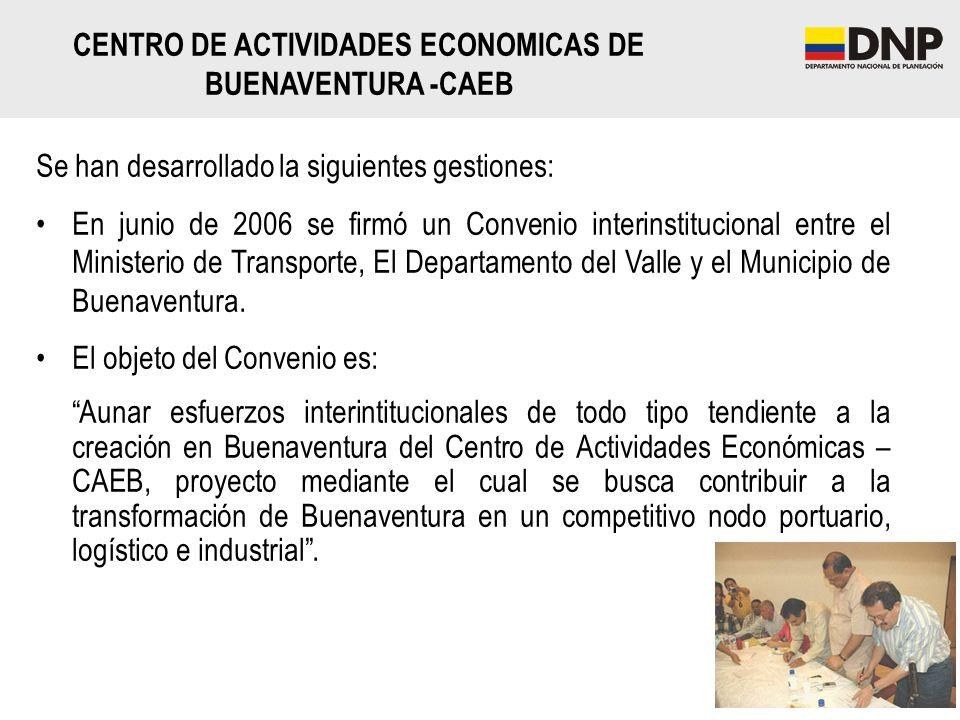 Se han desarrollado la siguientes gestiones: En junio de 2006 se firmó un Convenio interinstitucional entre el Ministerio de Transporte, El Departamen