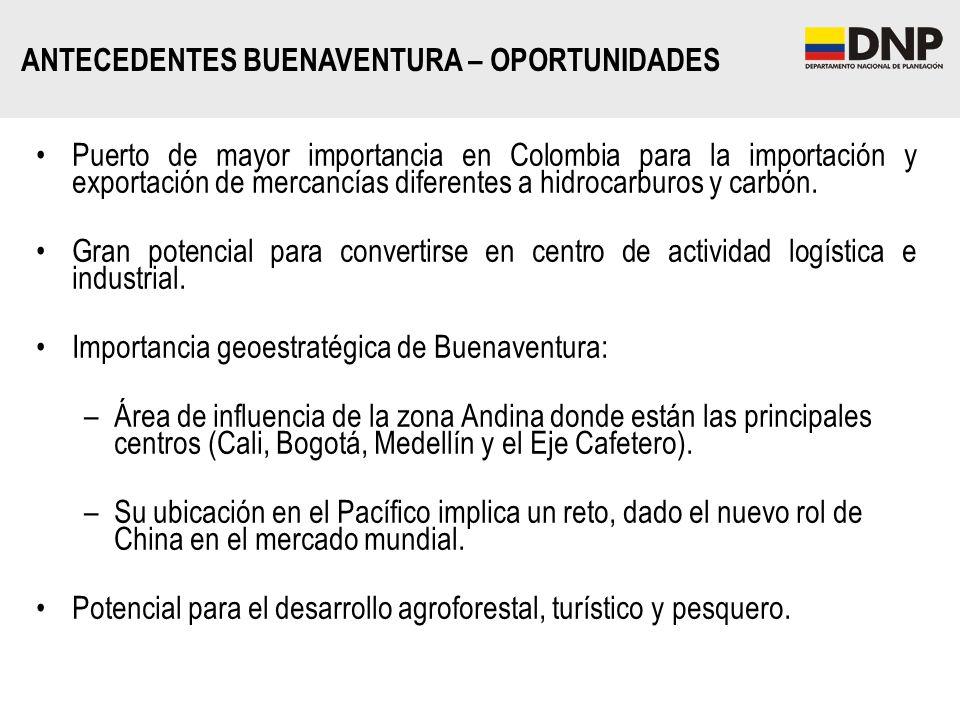 Puerto de mayor importancia en Colombia para la importación y exportación de mercancías diferentes a hidrocarburos y carbón. Gran potencial para conve