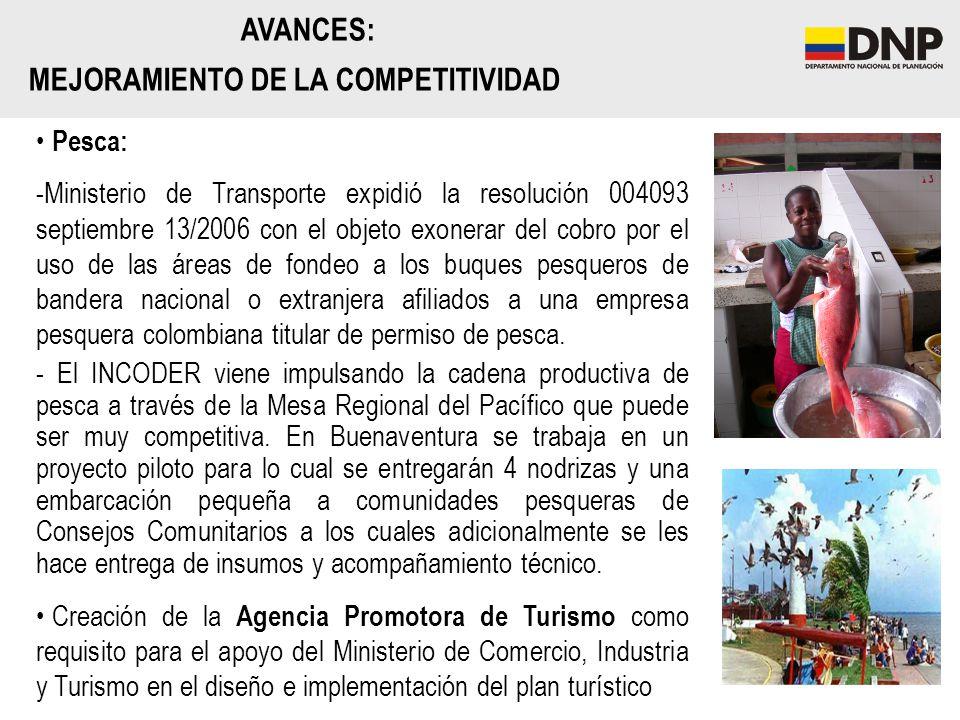 AVANCES: MEJORAMIENTO DE LA COMPETITIVIDAD Pesca: -Ministerio de Transporte expidió la resolución 004093 septiembre 13/2006 con el objeto exonerar del
