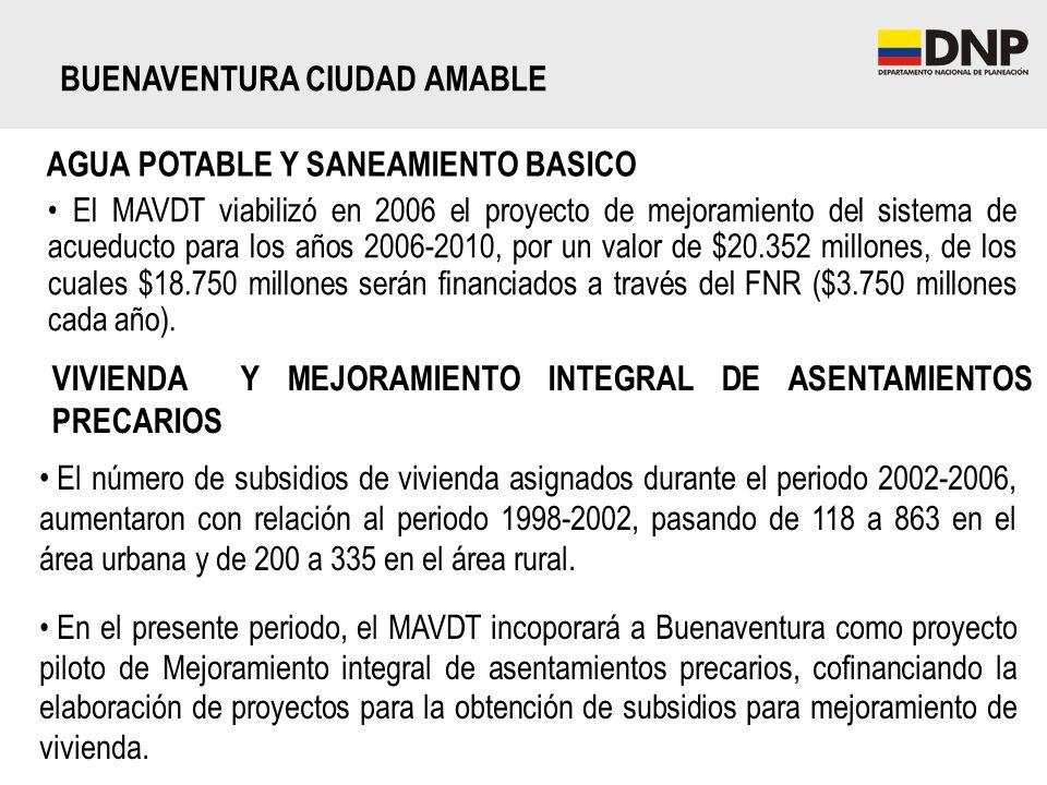 BUENAVENTURA CIUDAD AMABLE AGUA POTABLE Y SANEAMIENTO BASICO El MAVDT viabilizó en 2006 el proyecto de mejoramiento del sistema de acueducto para los