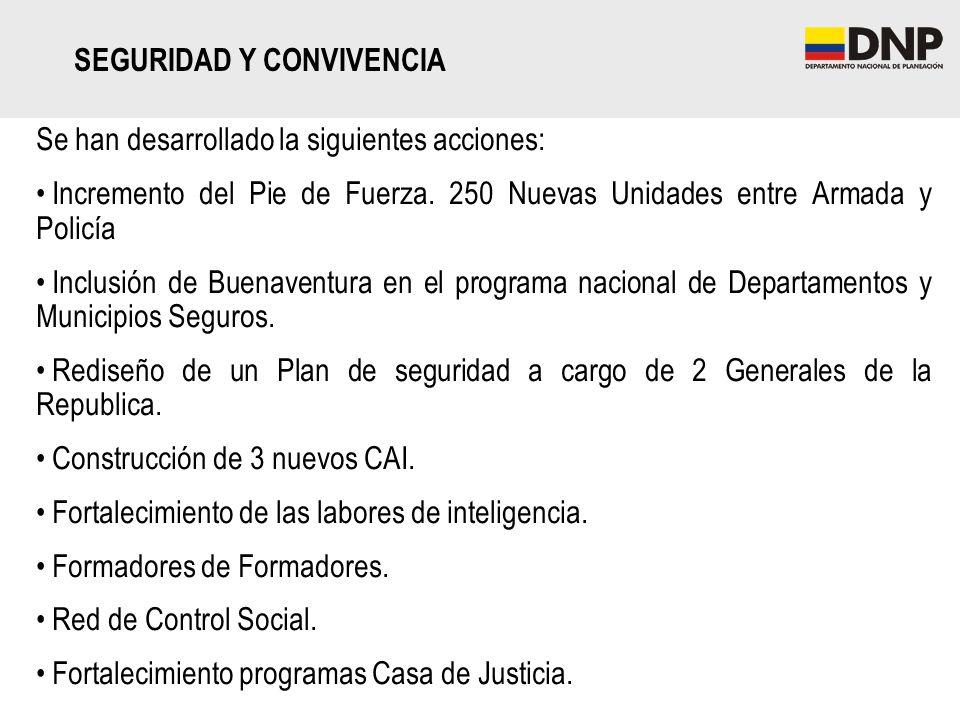 Se han desarrollado la siguientes acciones: Incremento del Pie de Fuerza. 250 Nuevas Unidades entre Armada y Policía Inclusión de Buenaventura en el p