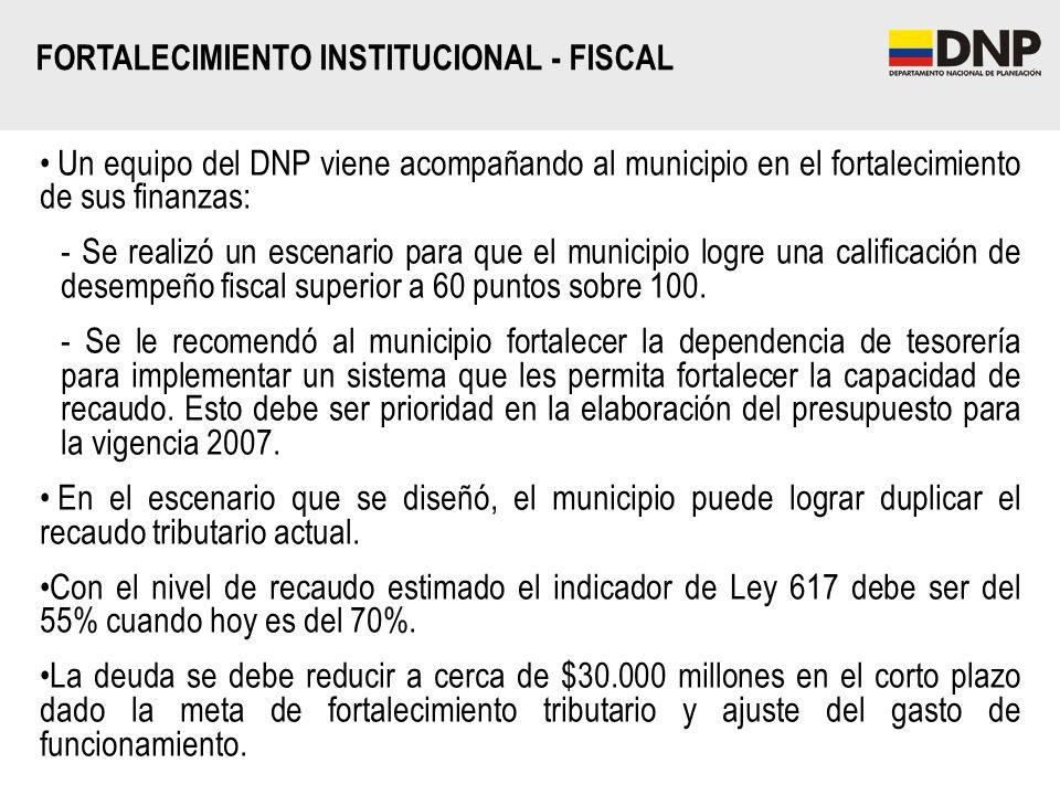 FORTALECIMIENTO INSTITUCIONAL - FISCAL Un equipo del DNP viene acompañando al municipio en el fortalecimiento de sus finanzas: - Se realizó un escenar