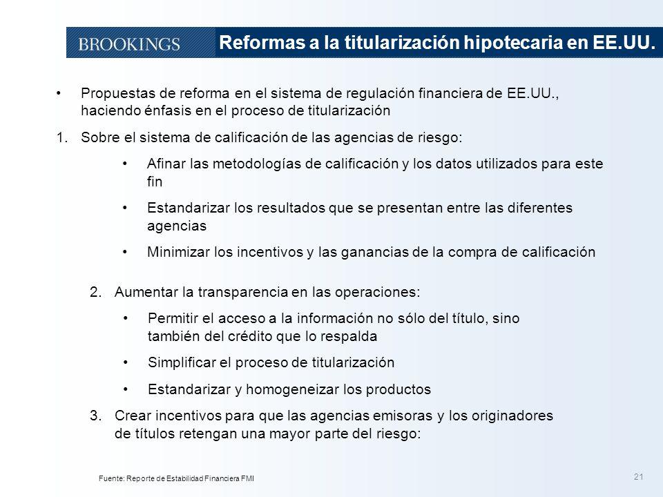 21 Propuestas de reforma en el sistema de regulación financiera de EE.UU., haciendo énfasis en el proceso de titularización 1.Sobre el sistema de cali