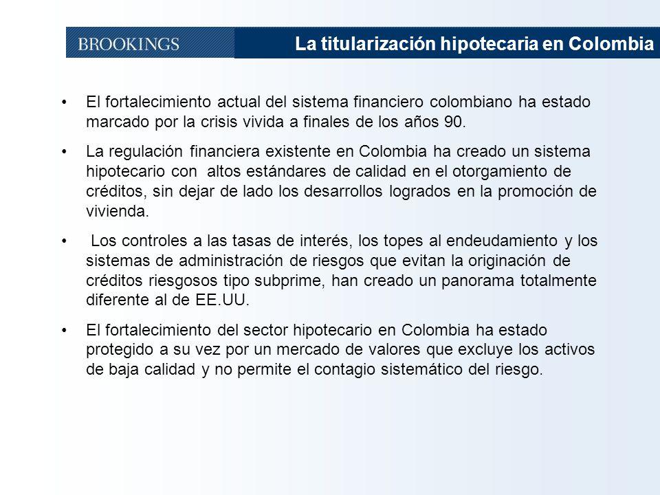 22 El fortalecimiento actual del sistema financiero colombiano ha estado marcado por la crisis vivida a finales de los años 90. La regulación financie