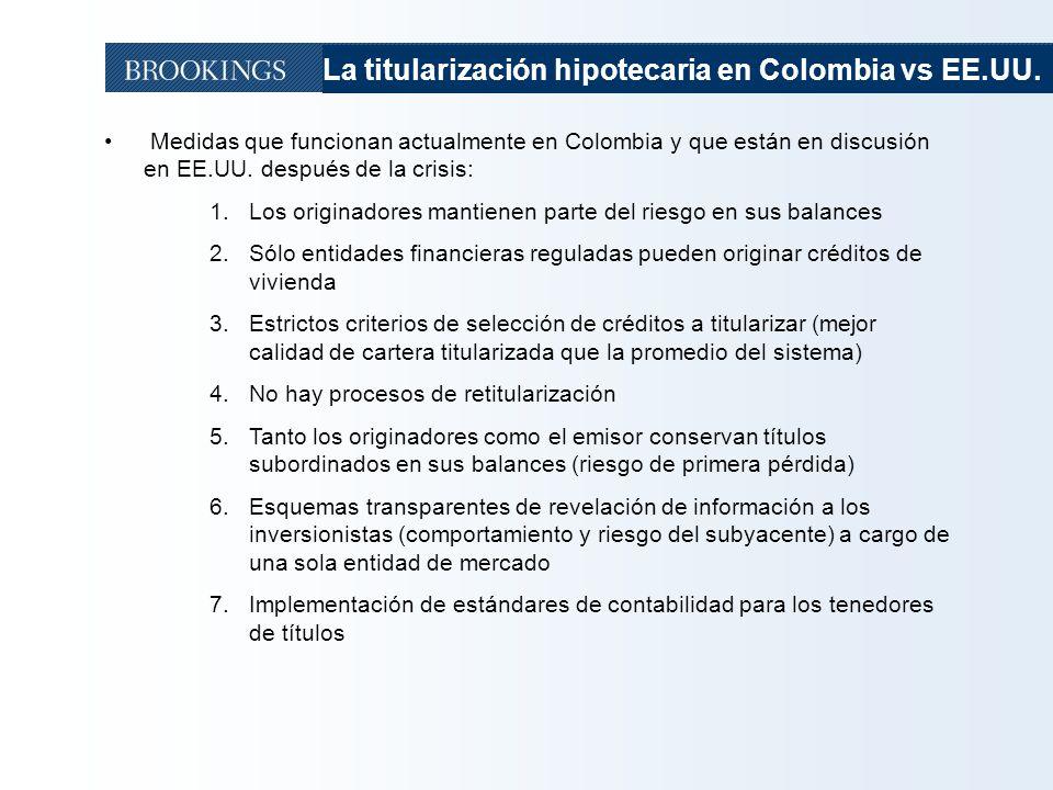 23 Medidas que funcionan actualmente en Colombia y que están en discusión en EE.UU. después de la crisis: 1.Los originadores mantienen parte del riesg