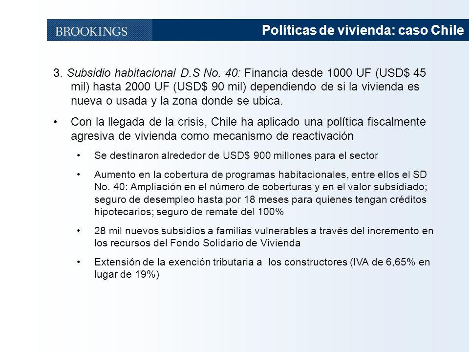 41 Políticas de vivienda: caso Chile 3. Subsidio habitacional D.S No. 40: Financia desde 1000 UF (USD$ 45 mil) hasta 2000 UF (USD$ 90 mil) dependiendo