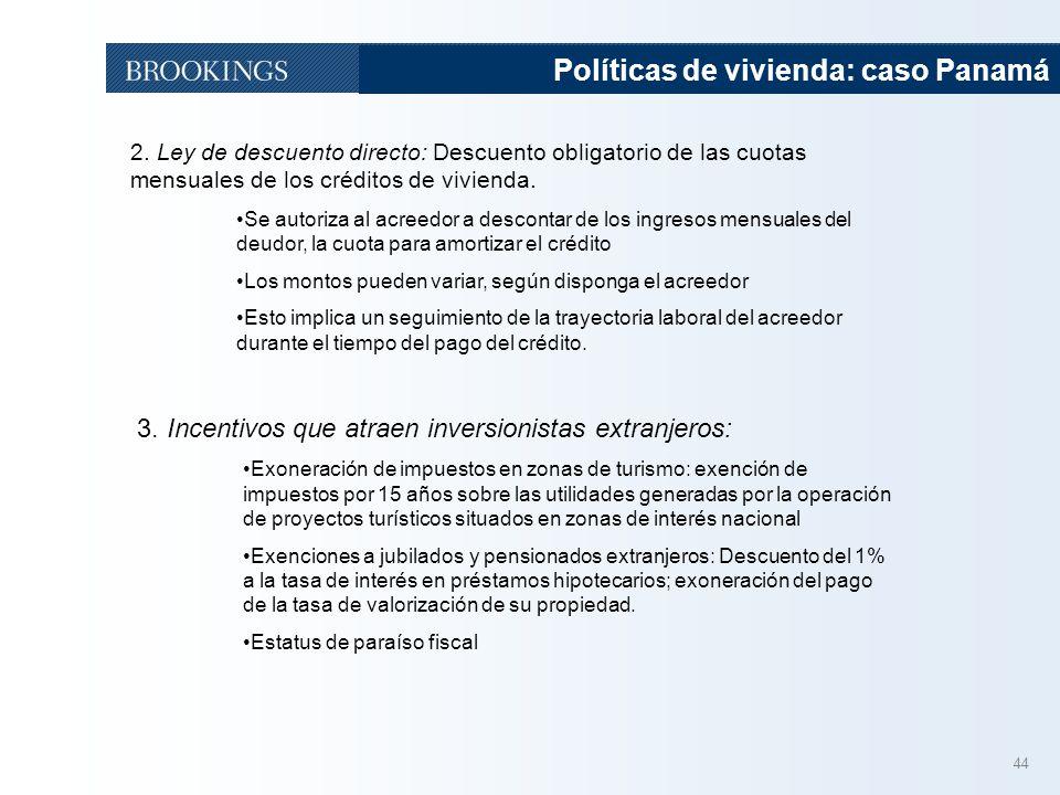 44 Políticas de vivienda: caso Panamá 2. Ley de descuento directo: Descuento obligatorio de las cuotas mensuales de los créditos de vivienda. Se autor