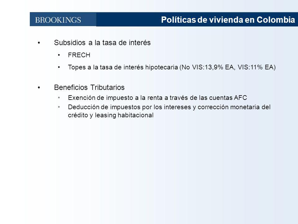 51 Políticas de vivienda en Colombia Subsidios a la tasa de interés FRECH Topes a la tasa de interés hipotecaria (No VIS:13,9% EA, VIS:11% EA) Beneficios Tributarios Exención de impuesto a la renta a través de las cuentas AFC Deducción de impuestos por los intereses y corrección monetaria del crédito y leasing habitacional