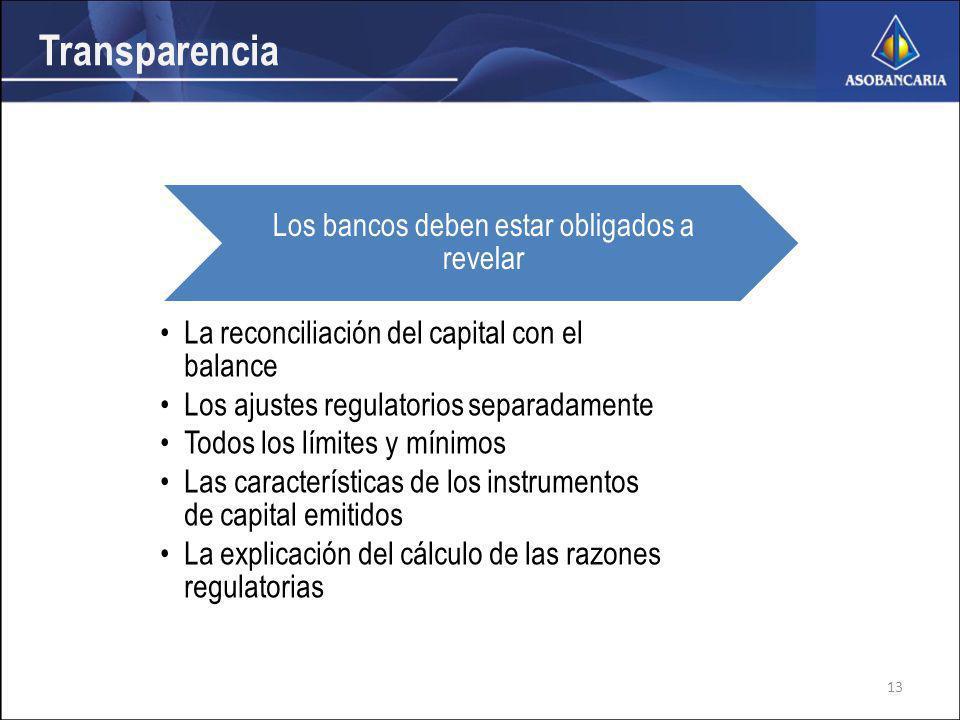 Transparencia Los bancos deben estar obligados a revelar La reconciliación del capital con el balance Los ajustes regulatorios separadamente Todos los límites y mínimos Las características de los instrumentos de capital emitidos La explicación del cálculo de las razones regulatorias 13