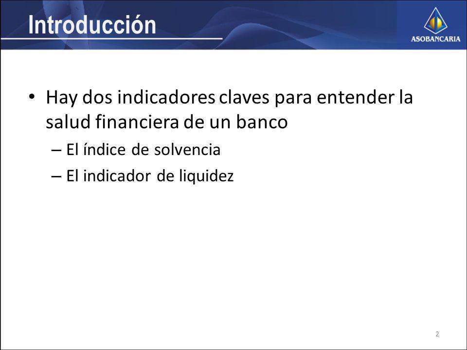 Introducción Hay dos indicadores claves para entender la salud financiera de un banco – El índice de solvencia – El indicador de liquidez 2