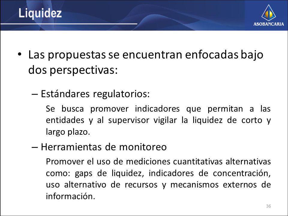 Liquidez Las propuestas se encuentran enfocadas bajo dos perspectivas: – Estándares regulatorios: Se busca promover indicadores que permitan a las entidades y al supervisor vigilar la liquidez de corto y largo plazo.