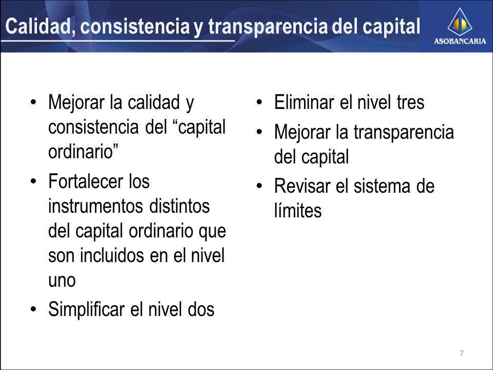 Calidad, consistencia y transparencia del capital Mejorar la calidad y consistencia del capital ordinario Fortalecer los instrumentos distintos del capital ordinario que son incluidos en el nivel uno Simplificar el nivel dos Eliminar el nivel tres Mejorar la transparencia del capital Revisar el sistema de límites 7