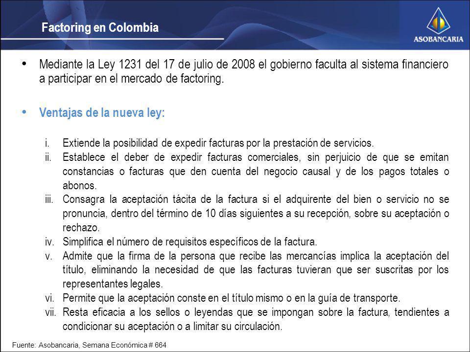 Factoring en Colombia Mediante la Ley 1231 del 17 de julio de 2008 el gobierno faculta al sistema financiero a participar en el mercado de factoring.