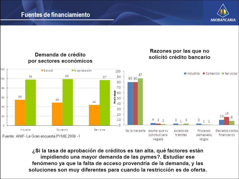 Fuente: ANIF- La Gran encuesta PYME 2008 - I Demanda de crédito por sectores económicos Razones por las que no solicitó crédito bancario Fuentes de fi