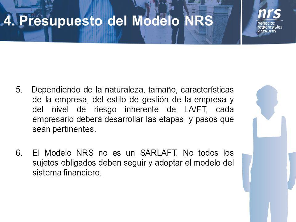 5. Dependiendo de la naturaleza, tamaño, características de la empresa, del estilo de gestión de la empresa y del nivel de riesgo inherente de LA/FT,