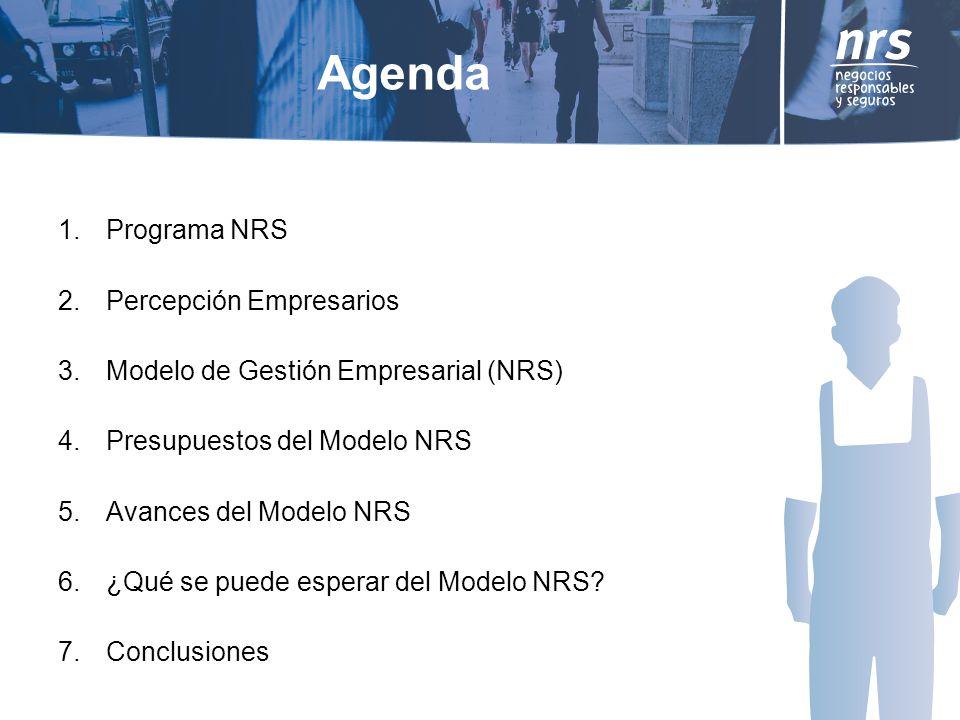 Agenda 1.Programa NRS 2.Percepción Empresarios 3.Modelo de Gestión Empresarial (NRS) 4.Presupuestos del Modelo NRS 5.Avances del Modelo NRS 6.¿Qué se puede esperar del Modelo NRS.
