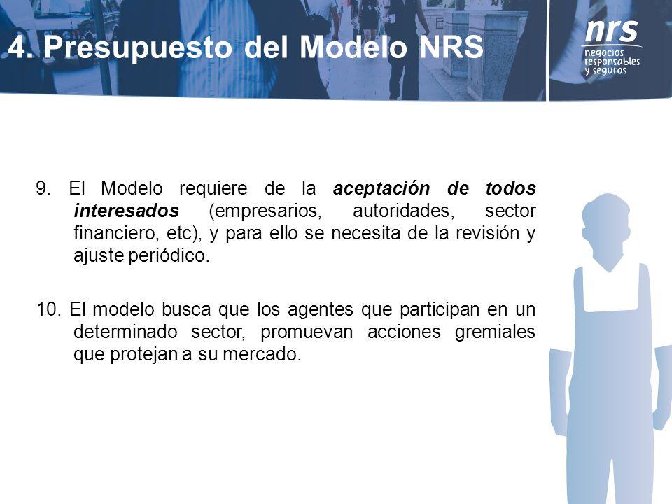 9. El Modelo requiere de la aceptación de todos interesados (empresarios, autoridades, sector financiero, etc), y para ello se necesita de la revisión