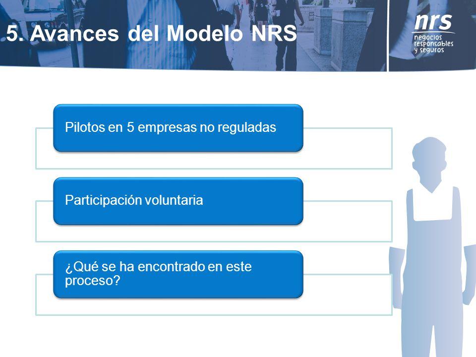 5. Avances del Modelo NRS Pilotos en 5 empresas no reguladasParticipación voluntaria ¿Qué se ha encontrado en este proceso?