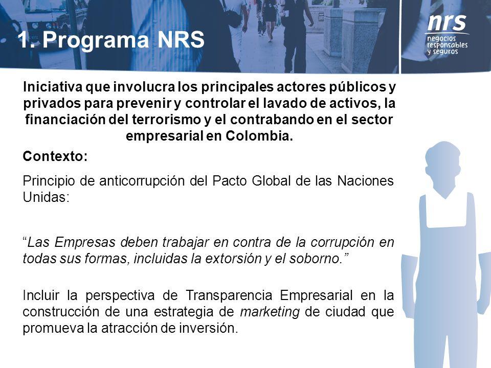1. Programa NRS Iniciativa que involucra los principales actores públicos y privados para prevenir y controlar el lavado de activos, la financiación d