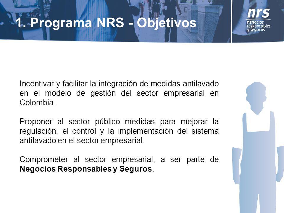 1. Programa NRS - Objetivos Incentivar y facilitar la integración de medidas antilavado en el modelo de gestión del sector empresarial en Colombia. Pr
