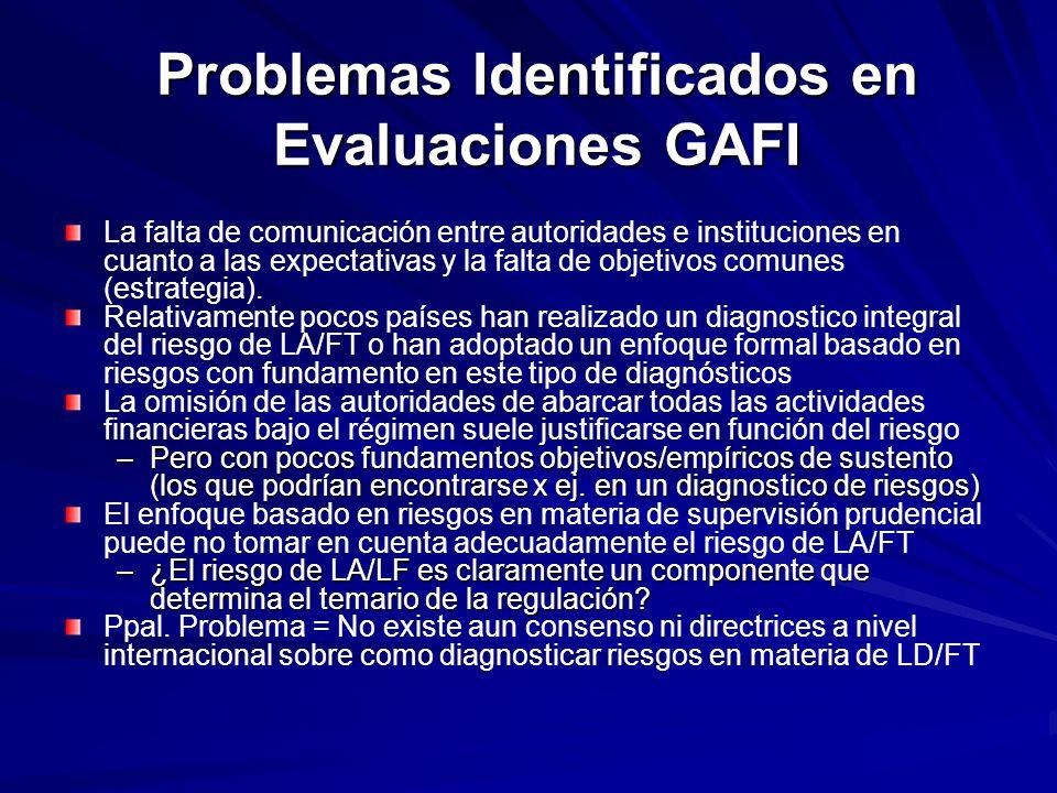 Problemas Identificados en Evaluaciones GAFI La falta de comunicación entre autoridades e instituciones en cuanto a las expectativas y la falta de obj