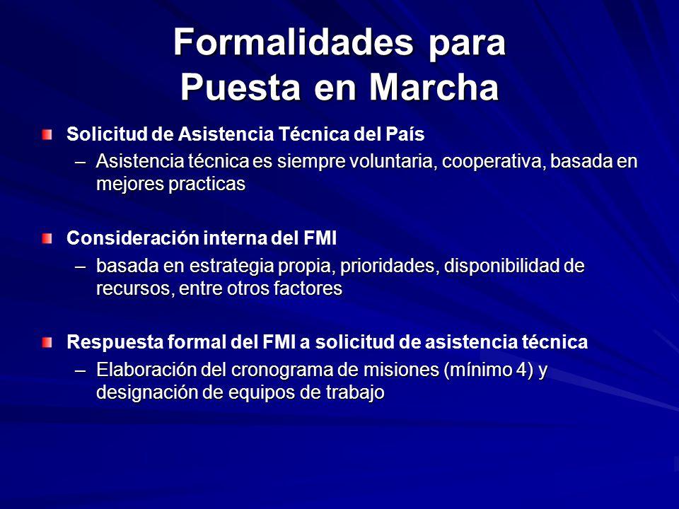 Formalidades para Puesta en Marcha Solicitud de Asistencia Técnica del País –Asistencia técnica es siempre voluntaria, cooperativa, basada en mejores