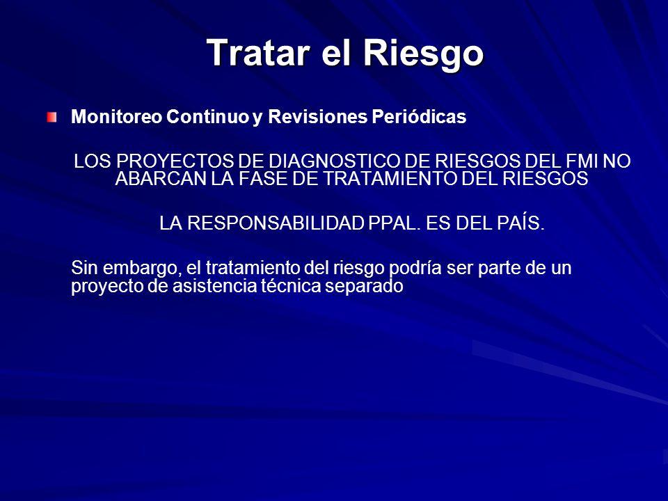 Tratar el Riesgo Monitoreo Continuo y Revisiones Periódicas LOS PROYECTOS DE DIAGNOSTICO DE RIESGOS DEL FMI NO ABARCAN LA FASE DE TRATAMIENTO DEL RIES