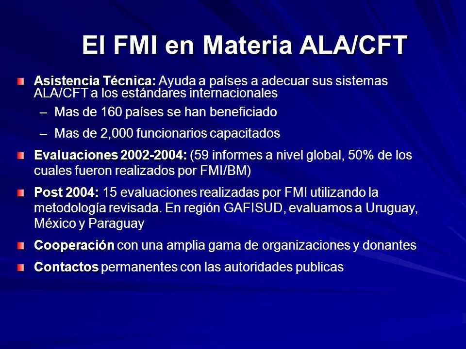 El FMI en Materia ALA/CFT Asistencia Técnica: Asistencia Técnica: Ayuda a países a adecuar sus sistemas ALA/CFT a los estándares internacionales –Mas