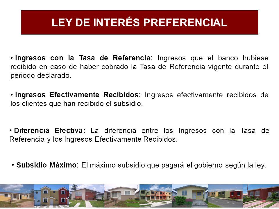 LEY DE INTERÉS PREFERENCIAL Ingresos con la Tasa de Referencia: Ingresos que el banco hubiese recibido en caso de haber cobrado la Tasa de Referencia