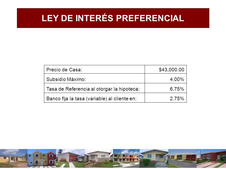 LEY DE INTERÉS PREFERENCIAL Precio de Casa:$43,000.00 Subsidio Máximo:4.00% Tasa de Referencia al otorgar la hipoteca:6.75% Banco fija la tasa (variab
