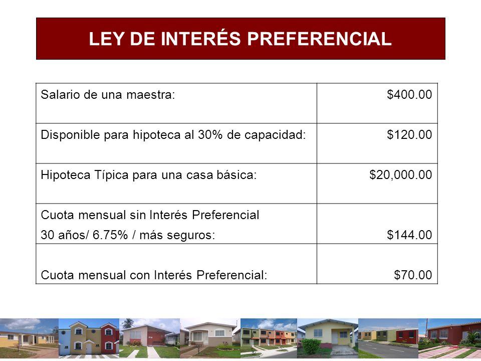 Salario de una maestra: $400.00 Disponible para hipoteca al 30% de capacidad: $120.00 Hipoteca Típica para una casa básica: $20,000.00 Cuota mensual s