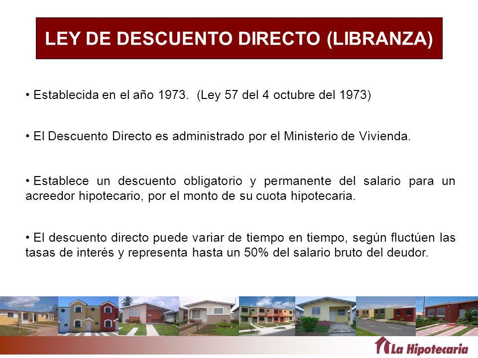 LEY DE DESCUENTO DIRECTO (LIBRANZA) Establecida en el año 1973. (Ley 57 del 4 octubre del 1973) Establece un descuento obligatorio y permanente del sa
