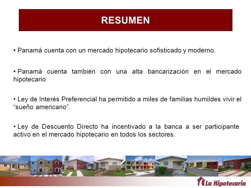 RESUMEN Panamá cuenta con un mercado hipotecario sofisticado y moderno. Ley de Descuento Directo ha incentivado a la banca a ser participante activo e