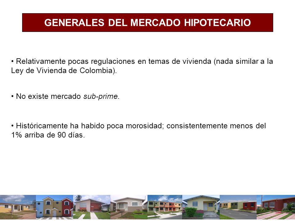 GENERALES DEL MERCADO HIPOTECARIO Relativamente pocas regulaciones en temas de vivienda (nada similar a la Ley de Vivienda de Colombia). No existe mer