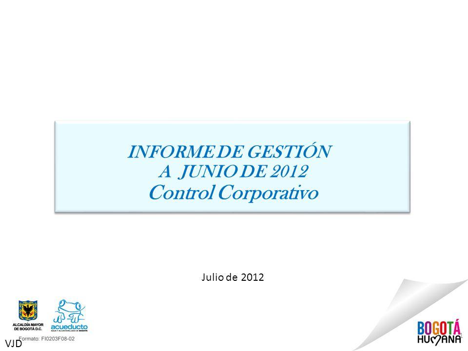 1 Julio de 2012 INFORME DE GESTIÓN A JUNIO DE 2012 Control Corporativo INFORME DE GESTIÓN A JUNIO DE 2012 Control Corporativo VJD