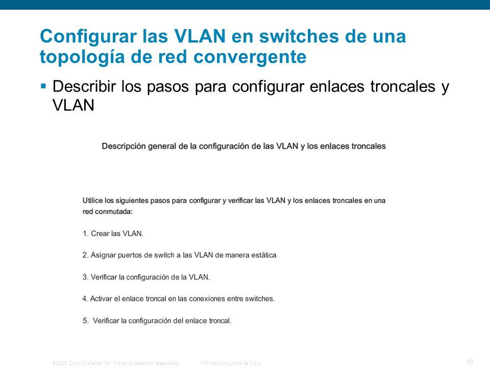 © 2006 Cisco Systems, Inc. Todos los derechos reservados.Información pública de Cisco 10 Configurar las VLAN en switches de una topología de red conve