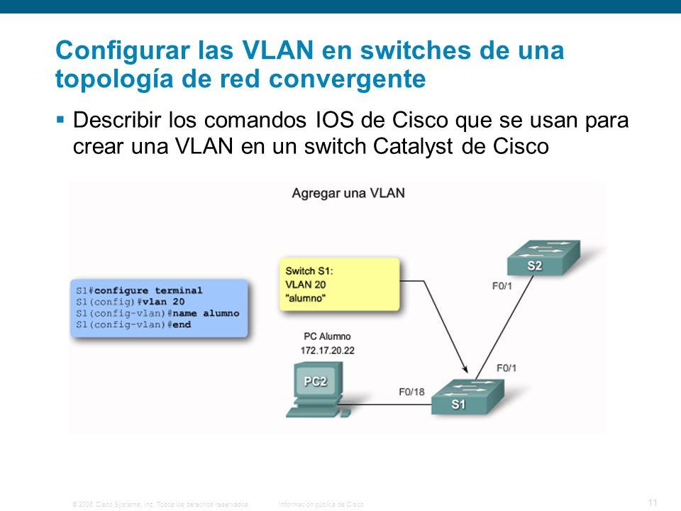 © 2006 Cisco Systems, Inc. Todos los derechos reservados.Información pública de Cisco 11 Configurar las VLAN en switches de una topología de red conve
