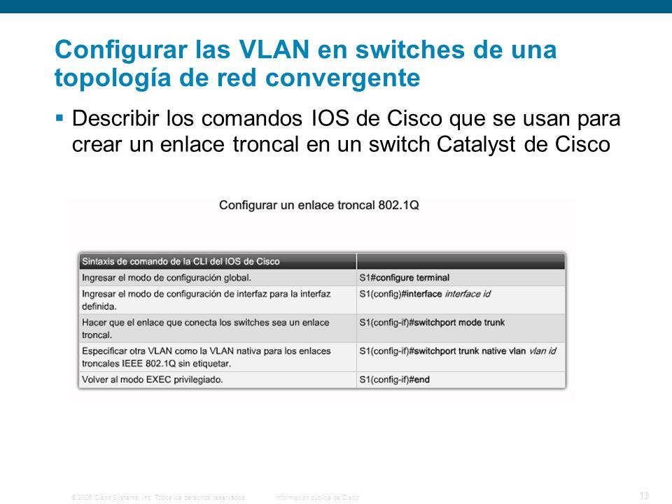 © 2006 Cisco Systems, Inc. Todos los derechos reservados.Información pública de Cisco 13 Configurar las VLAN en switches de una topología de red conve