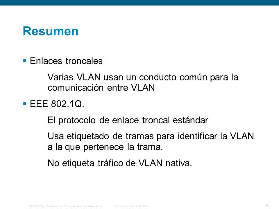 © 2006 Cisco Systems, Inc. Todos los derechos reservados.Información pública de Cisco 19 Resumen Enlaces troncales Varias VLAN usan un conducto común