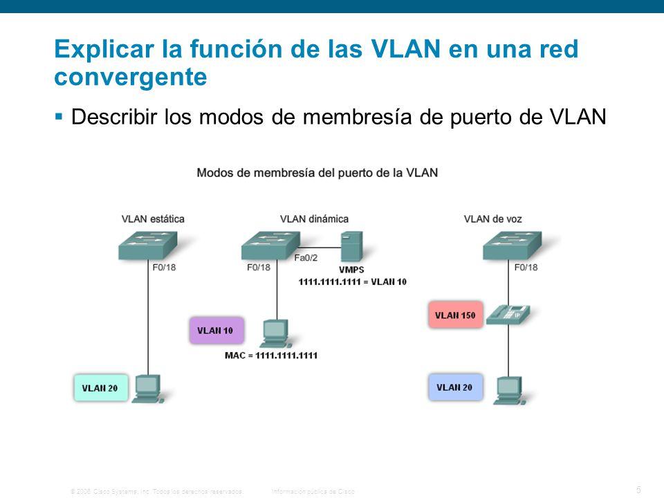 © 2006 Cisco Systems, Inc. Todos los derechos reservados.Información pública de Cisco 5 Explicar la función de las VLAN en una red convergente Describ
