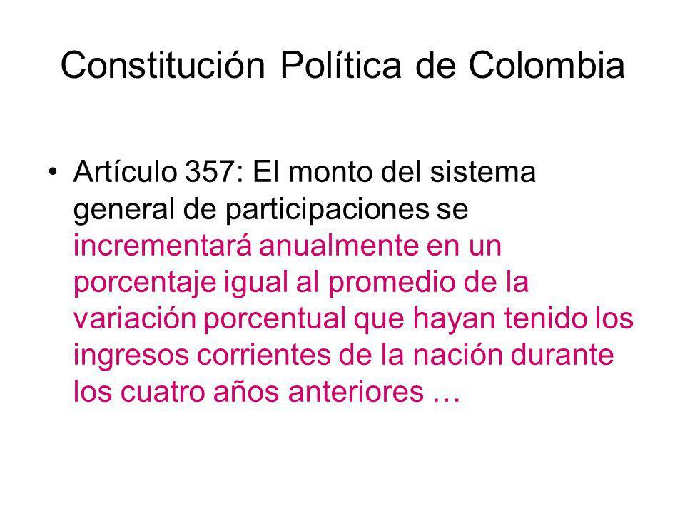 Constitución Política de Colombia Artículo 357: El monto del sistema general de participaciones se incrementará anualmente en un porcentaje igual al p