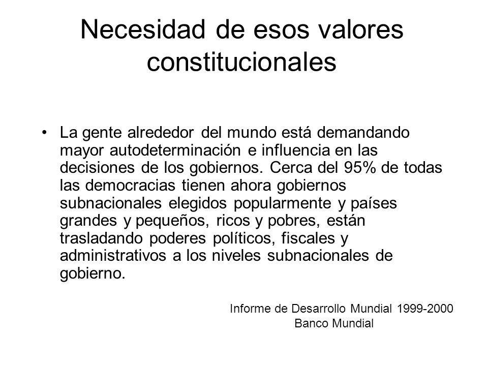Necesidad de esos valores constitucionales La gente alrededor del mundo está demandando mayor autodeterminación e influencia en las decisiones de los