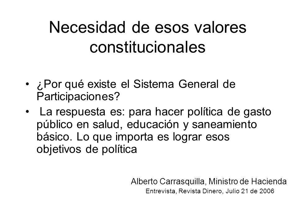 Necesidad de esos valores constitucionales ¿Por qué existe el Sistema General de Participaciones? La respuesta es: para hacer política de gasto públic