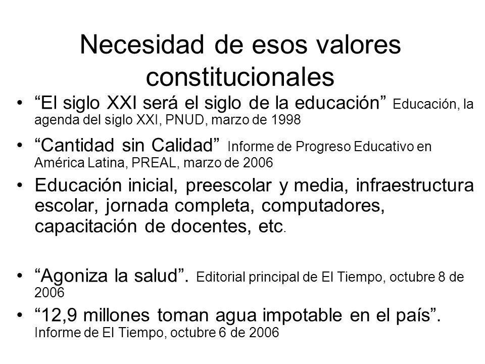 Necesidad de esos valores constitucionales El siglo XXI será el siglo de la educación Educación, la agenda del siglo XXI, PNUD, marzo de 1998 Cantidad