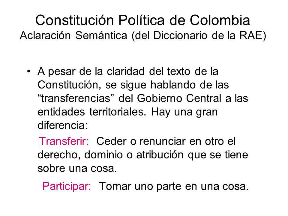 Constitución Política de Colombia Aclaración Semántica (del Diccionario de la RAE) A pesar de la claridad del texto de la Constitución, se sigue habla
