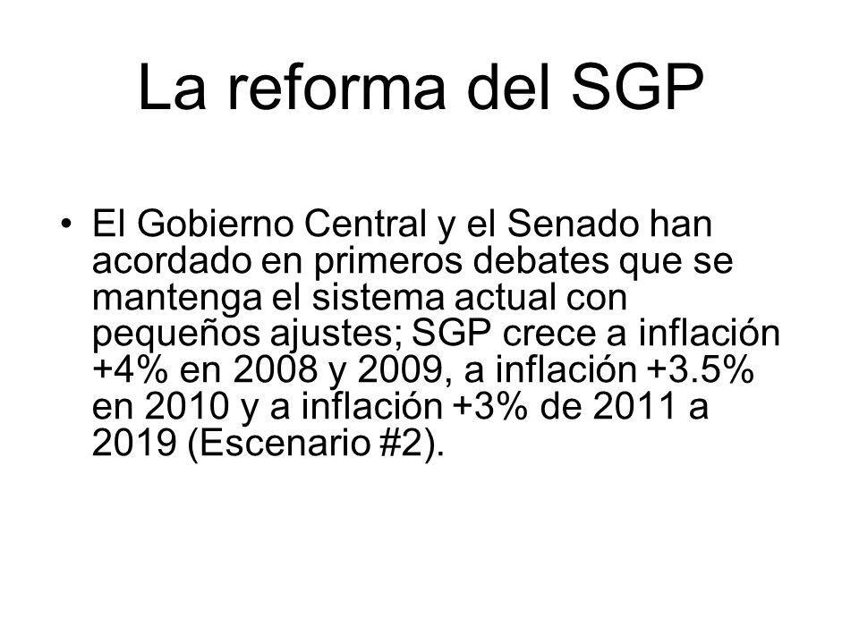 La reforma del SGP El Gobierno Central y el Senado han acordado en primeros debates que se mantenga el sistema actual con pequeños ajustes; SGP crece