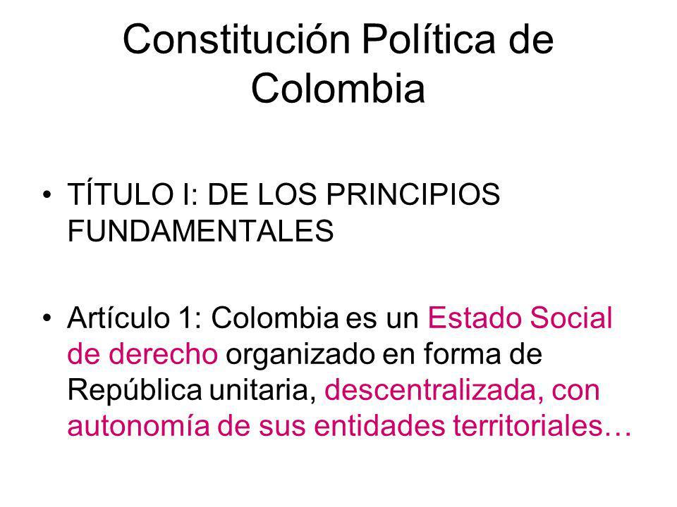 Constitución Política de Colombia TÍTULO I: DE LOS PRINCIPIOS FUNDAMENTALES Artículo 1: Colombia es un Estado Social de derecho organizado en forma de