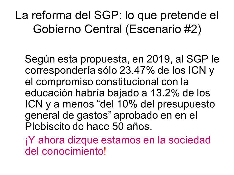 Según esta propuesta, en 2019, al SGP le correspondería sólo 23.47% de los ICN y el compromiso constitucional con la educación habría bajado a 13.2% d