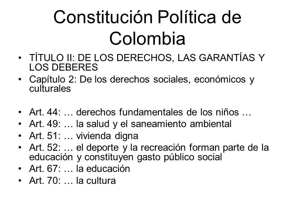 Constitución Política de Colombia TÍTULO II: DE LOS DERECHOS, LAS GARANTÍAS Y LOS DEBERES Capítulo 2: De los derechos sociales, económicos y culturale